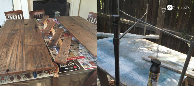 finishing reclaimed wood, and spray painting metal legs