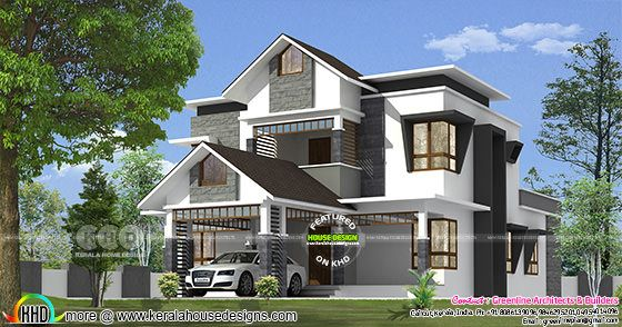 2529 sq-ft 4 bedroom sloping roof modern home