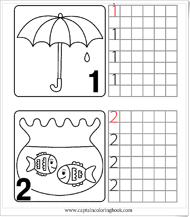 Numbers Worksheets-Zahlen Arbeitsblätter - Coloring Page