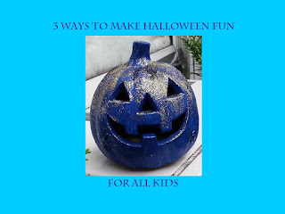 "A picture of a blue painted jackolantern with silver and gold glitter on a teal background. The words ""3 Ways to Make Halloween More Fun For All Kids"" are in blue."