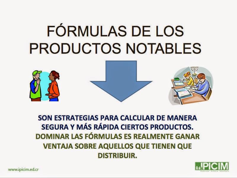 Fórmulas Notables, Matemática de Colegio