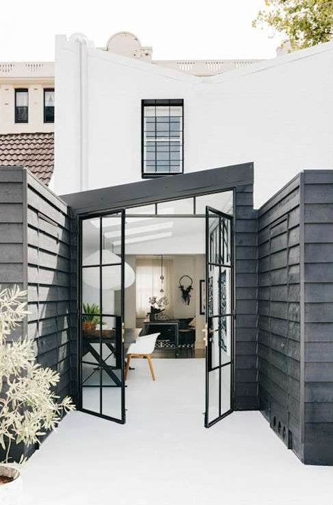 A black and white house