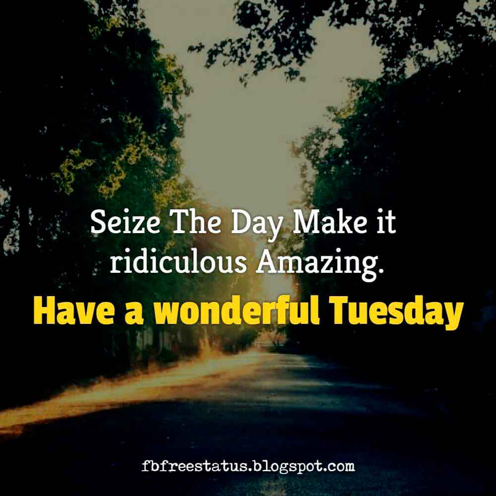 Seize the day make it ridiculous amazing , have a wonderful Tuesday.