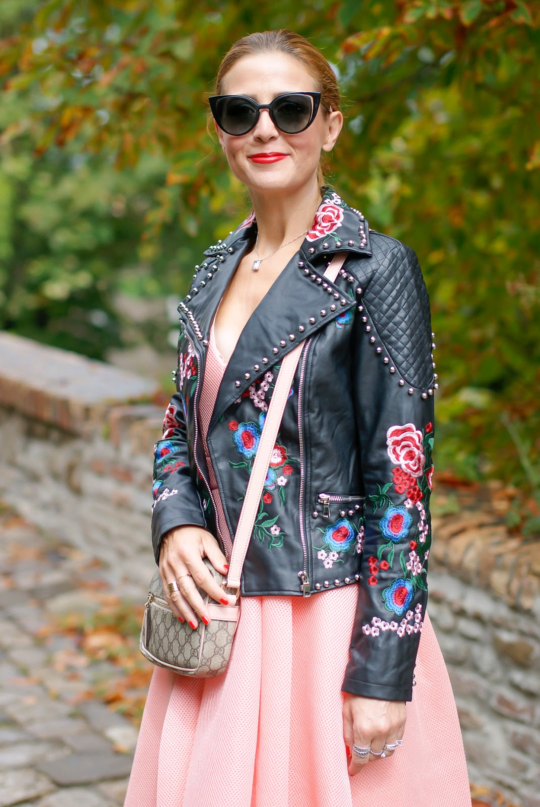 Embroidered faux leather biker jacket on Fashion and Cookies fashion blog, fashion blogger style
