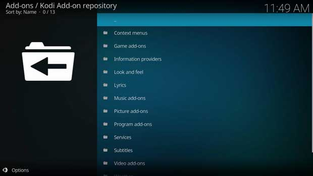 instal add-on resmi kodi 2