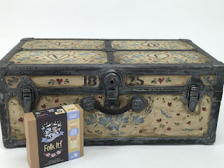 You Can Folk It used their bluebirds kit to decorate this vintage trunk