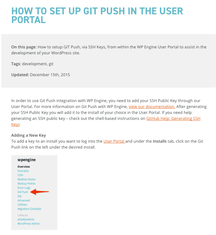 WP Engine Git Push
