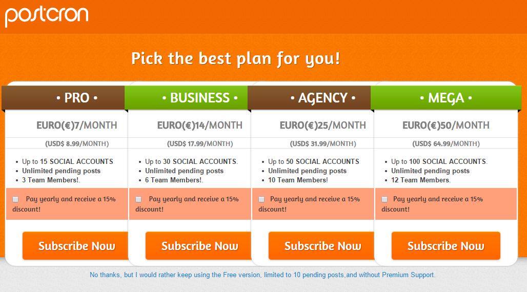 subscription premium plan postcron
