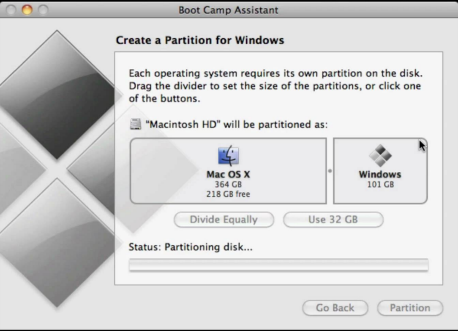BootCamp Assistan Windows 10 Installation