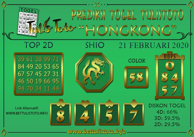 Prediksi Togel HONGKONG TULISTOTO 21 FEBRUARI 2020