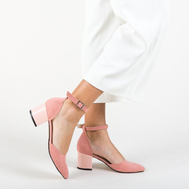 Pantofi comozi de zi cu toc gros de vara din piele initoarsa