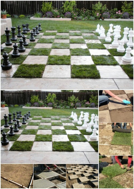 outdoor games, patio chess board