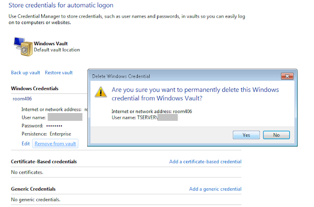 Delete computer from windows credential manager vault