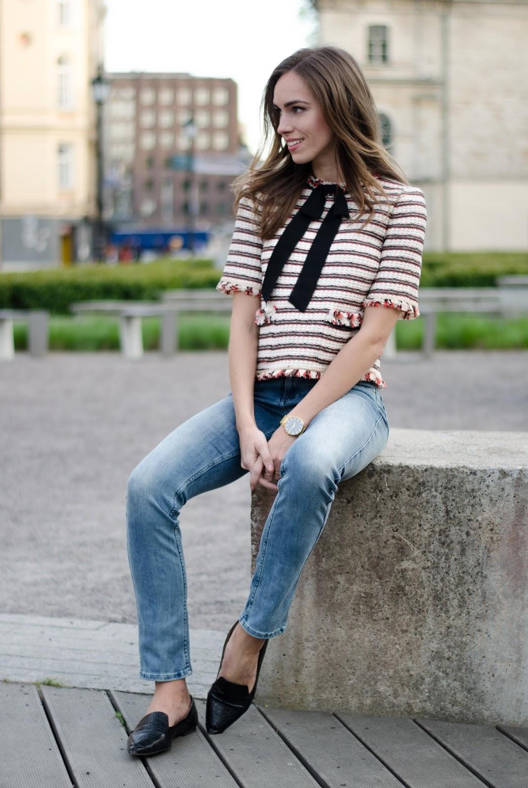 kristjaana mere zara bow blouse calvin klein jeans spring fashion