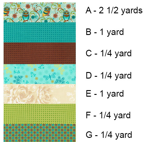 Fabrics used in the quilt