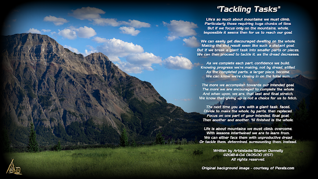 Tackling Tasks poetry by/copyrighted to Artsieladie