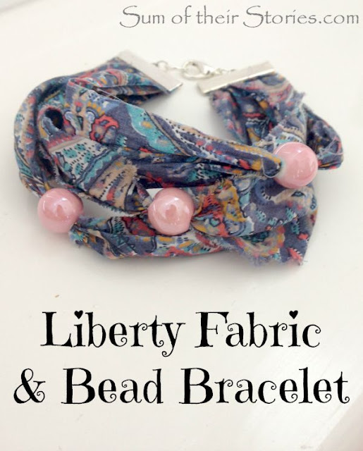 DIY Liberty Fabric and bead bracelet