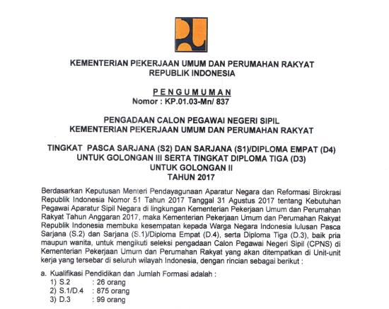 Pupr Soal Dan Pendaftaran Cpns Kementerian Pekerjaan Umum Dan Perumahan Rakyat 2017 Job Fair Lowongan Kerja 2020 Lulusan Smk Lulusan Sma Smp
