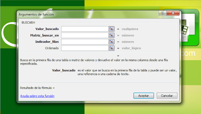 buscarh, función buscarh, Excel