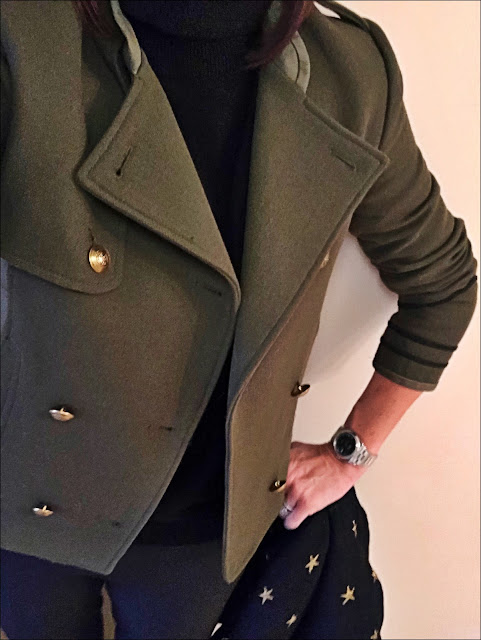 My Midlife Fashion, Zara khaki military jacket, marks and spencer pure cashmere roll neck jumper, whistles cropped kick flares, zara star metallic scarf, boden studded pointed flats