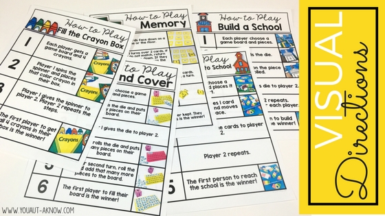 Visual directions are perfect for Take Home Games. They provide students and families with everything they need to play games at home.