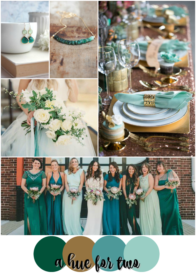 Mint, Emerald and Gold Wedding Colour Scheme | A Hue For Two