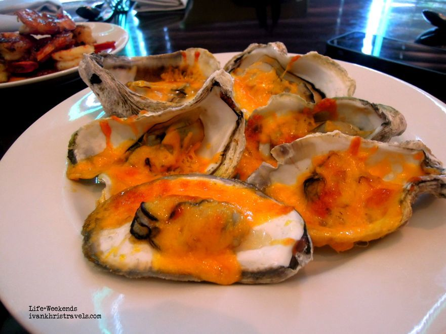 Baked oysters at New World Hotel's Cafe 1228
