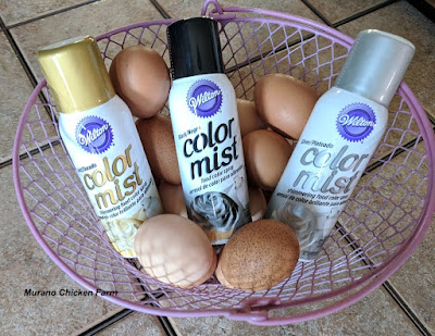 Painting Easter eggs gold and silver