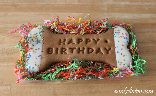 Bone-shaped birthday cookie