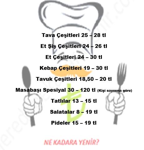 masabaşı menü fiyatları