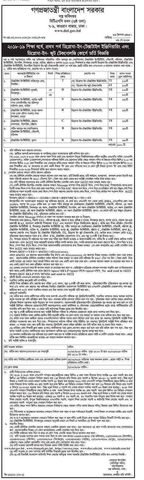 Department of Textiles Admission Circular 2018-19