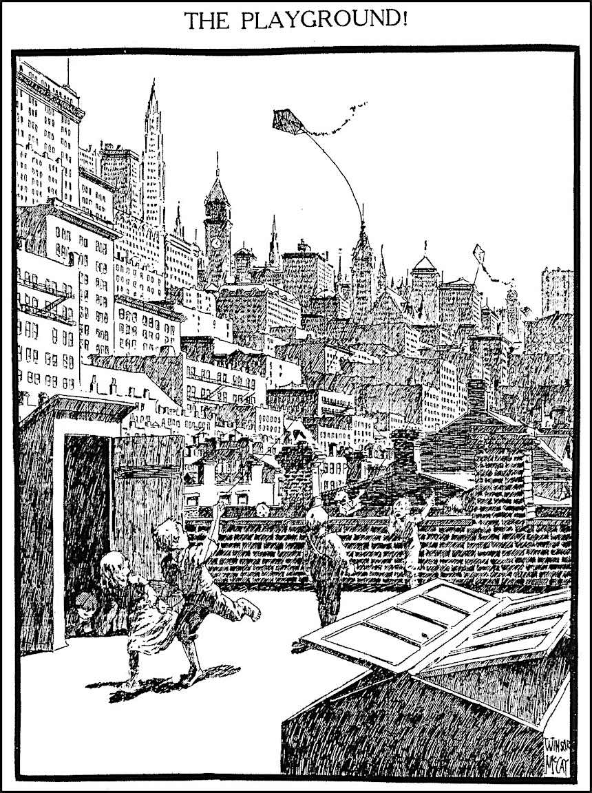 Winsor Mccay, rooftop playground children