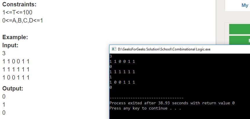 "Geeksforgeeks Solution For "" Combinational Logic """