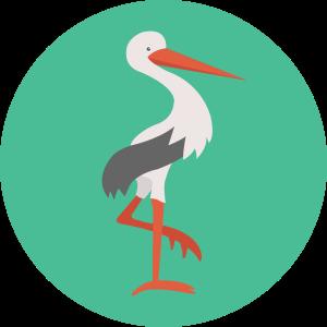 Unha figura que representa unha cegoña de pé