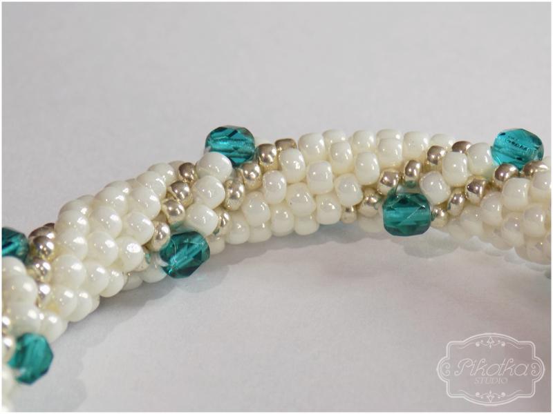 sznur szydełkowo-koralikowy, crochet bead, bransoletka, biżuteria, rękodzieło, handmade, bracelet, toho round, koraliki toho, toho beads, fire polish, jewellery
