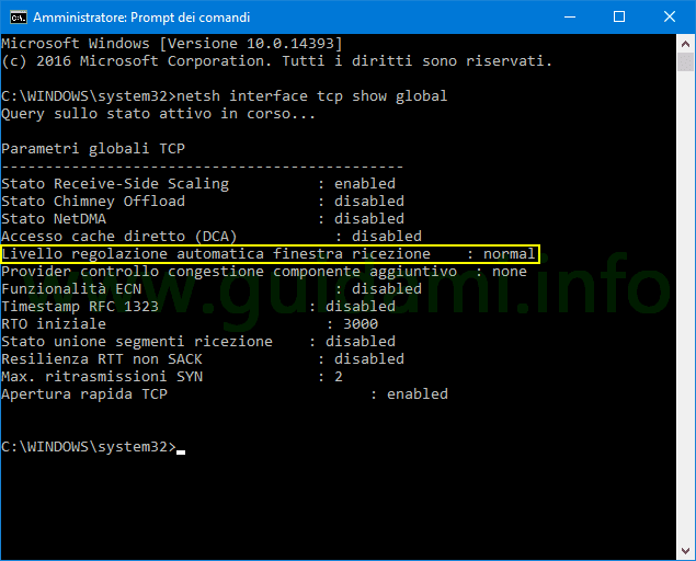 Prompt dei comandi Windows lista Parametri globali TCP
