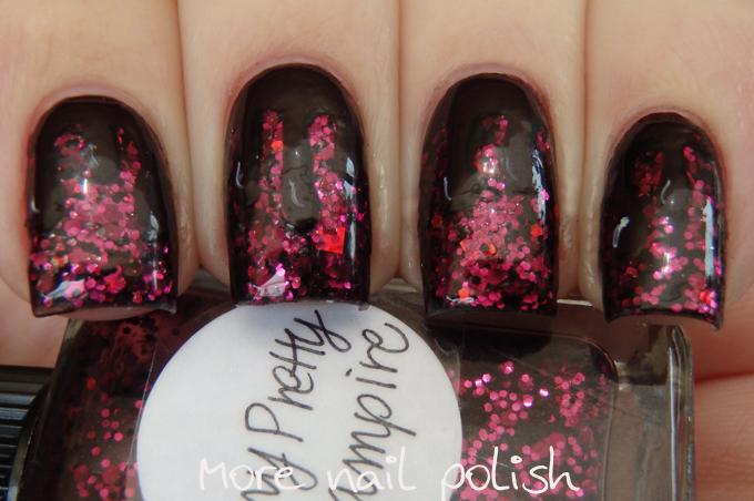 Digit-al Dozen does Vampy: Day 2 glittery drips ~ More Nail Polish