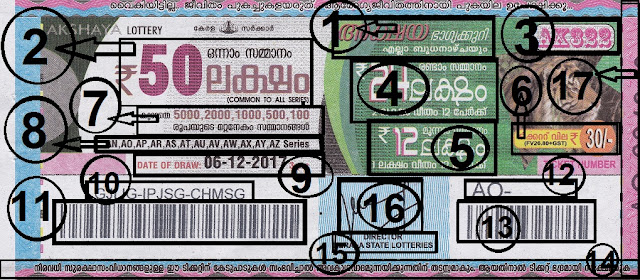 Understanding the ticket of Akshaya Lottery front view