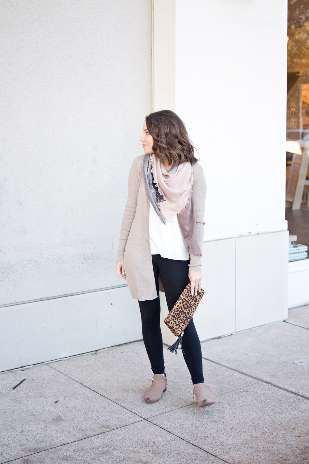 casual winter outfit, blogger style, casual outfit of the day, outfit post, fashion blogger, scarf and cardigan, neutral winter outfit ideas, leopard clutch, how to style a leopard clutch, casual and cute winter outfit ideas
