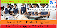 Indian Telephone Industries LimitedRecruitment 2018 – Contract Engineer