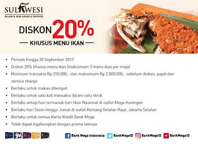 Diskon 20% di Sulawesi Resto - Bank Mega