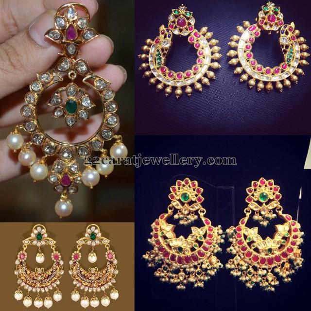 kundan chandbalis 22carat gold jewellery designs
