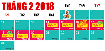 Lịch nghỉ tết 2018 của học sinh
