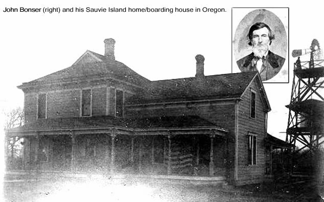 Image of John Bonser (right) and his Sauvie Island home/boarding house in Oregon.