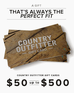 Enter to win a $100 gift card to Country Outfitter. Ends 12/2.