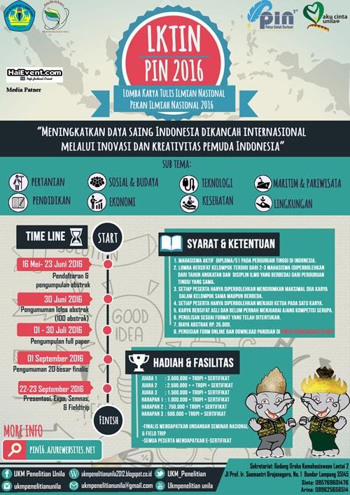 Lomba Karya Tulis Ilmiah Nasional di Universitas Lampung UNILA juni september 2016