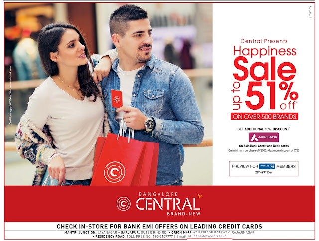 Bangalore Central - Up to 51% discount offer | December 2016 year end sale | Christmas festival discount offers