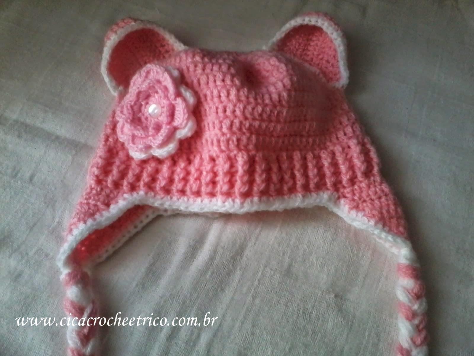 Ela queria uma touca rosa com flor e orelha de ursinho rsrs! 80f878ccd5f