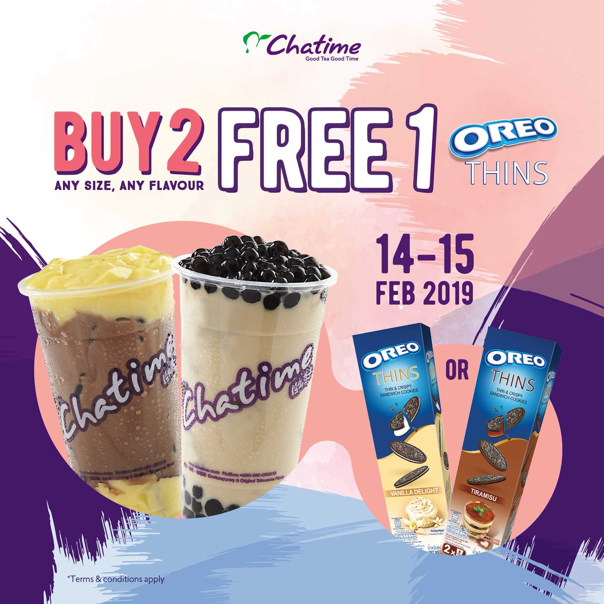 #Chatime - #Promo Valentine Days Buy 2 Get 1 Free Oreo Thins (s.d 15 Feb 2019)