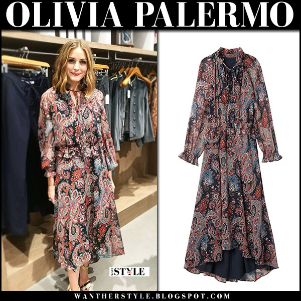 Olivia Palermo in paisley print dress banana republic and sandals boutique 9 dubai september 2017 fall fashion